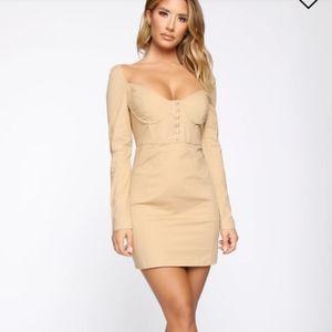 Fashion Nova Camel Fitted Off the Shoulder Dress!